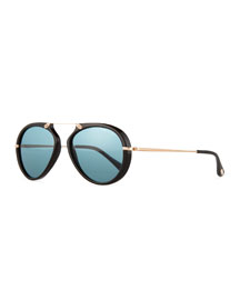 Aaron Trimmed Aviator Sunglasses, Black