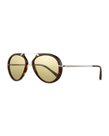Aaron Trimmed Havana Aviator Sunglasses, Brown