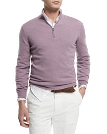 Cashmere Half-Zip Pullover Sweater, Fog