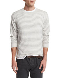 Striped Long-Sleeve Cashmere Tee, Fog/Mid Gray
