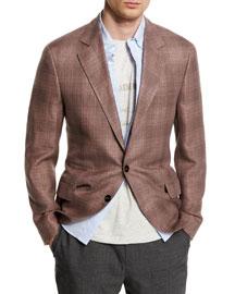 Plaid Linen-Blend Two-Button Blazer, Grape