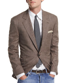 Flamed Wool-Blend Sport Coat, Brown