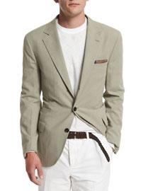 Solid Two-Button Blazer, Khaki