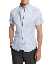 Short-Sleeve Button-Down Shirt, Powder Blue