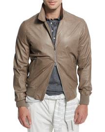 Full-Zip Leather Jacket, Gray