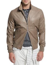 Full-Zip Leather Jacket, Gray