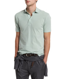 Short-Sleeve Pique Polo Shirt, Green Tea