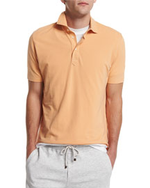 Short-Sleeve Pique Polo Shirt, Peach