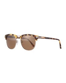 Henry Shiny Half-Rim Sunglasses, Silver