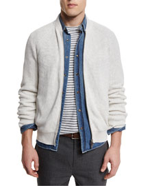 Ribbed Knit Full-Zip Cardigan, Marble/Dove