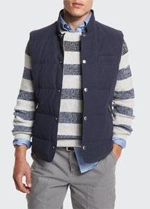 Quilted Snap-Front Vest, Blue Cobalt/Mushroom
