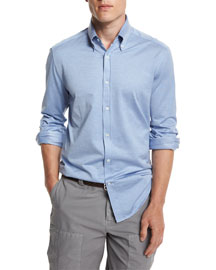 Solid Long-Sleeve Sport Shirt, Powder Blue