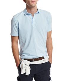 Short-Sleeve Pique Polo Shirt, Powder Blue