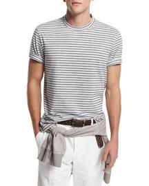 Striped Crewneck Short-Sleeve T-Shirt, Fog/Navy