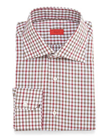 Check Woven Dress Shirt, Red/Olive