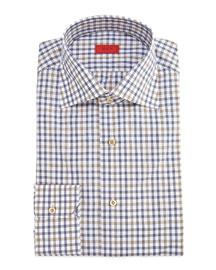 Check Woven Dress Shirt, Brown/Blue