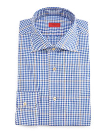 Gingham-Windowpane Dress Shirt, Blue