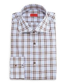 Box-Check Dress Shirt, Camel/Gray