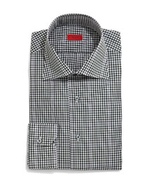 Gingham-Windowpane Long-Sleeve Dress Shirt, Green