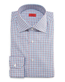 Check Button-Down Dress Shirt, Blue/Red
