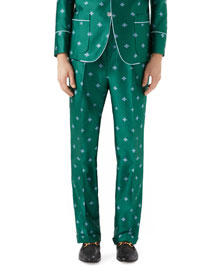Bee-Embroidered Jacquard Pants, Teal