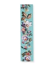 Retro Tapestry Silk Scarf, Light Blue