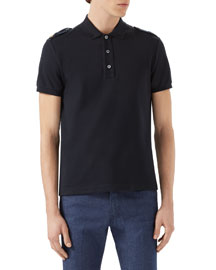 Short-Sleeve Polo Shirt w/Tabbed Shoulders, Navy