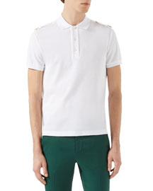 Short-Sleeve Polo Shirt w/Tabbed Shoulders, White