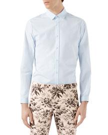 Duke Piece Dyed Poplin Shirt, Light Blue
