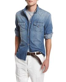 Western-Style Button-Down Denim Shirt, Powder Blue