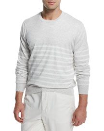 Nautical-Stripe Cotton Crewneck Sweater, Fog/Vanilla