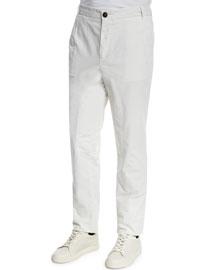 Cavallo Flat-Front Cotton Pants, Milk