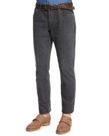 Five-Pocket Cotton Denim Pants, Lead