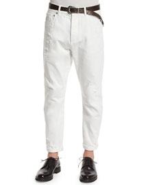 Five-Pocket Distressed Denim Jeans, Off White