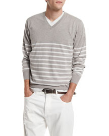 Nautical-Stripe V-Neck Sweater, Dove/Alabaster