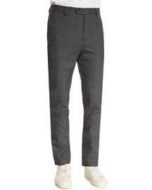 Para New Wool Cargo-Pocket Pants, Medium Gray