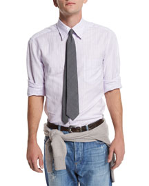 Basic-Fit Striped Sport Shirt, Lilac