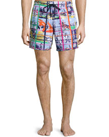Moorea Animal-Print Swim Trunks, Blue