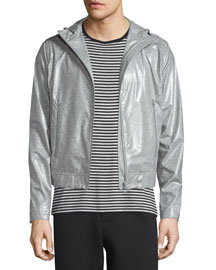 Coated Zip-Up Hooded Wind-Blocking Jacket, Light Gray