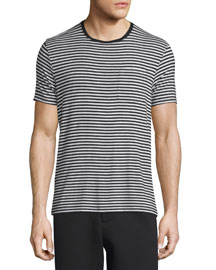 Striped Short-Sleeve Crewneck T-Shirt, Black