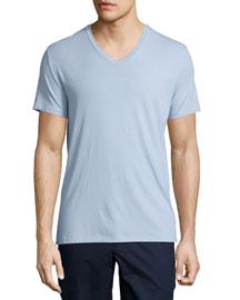Short-Sleeve V-Neck Jersey T-Shirt, Powder Blue
