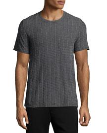 Pinstripe Crewneck Short-Sleeve T-Shirt, Charcoal