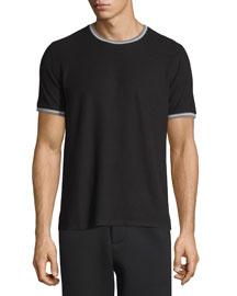 Tipped Short-Sleeve Jersey T-Shirt, White/Black