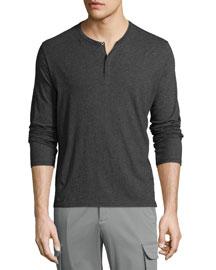 Classic Long-Sleeve Henley Shirt, Charcoal