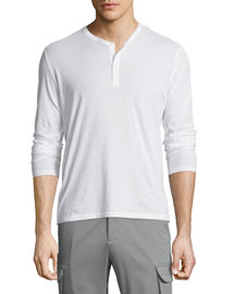 Classic Long-Sleeve Henley Shirt, White