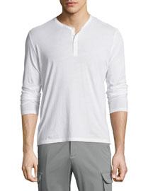 Classic Long-Sleeve Henley Shirt, White