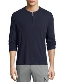 Classic Long-Sleeve Henley Shirt, Navy