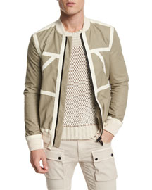 Treswell Suede-Trim Cotton Full-Zip Jacket, Dark Sand