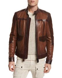 Landermere Paneled Leather Jacket, Burnt Umber