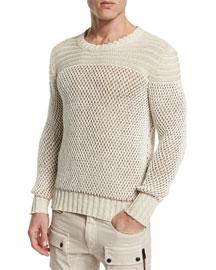 Kamden Textured Knit Cotton Sweater, Natural White